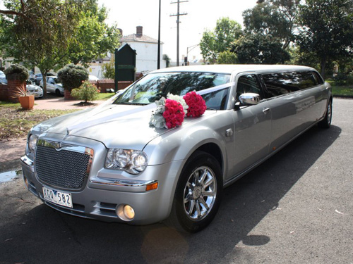 500 x 375 Stretch Chrysler Limo Hire Melbourne with Jet door