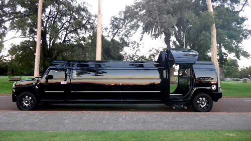 500 x 281 Mylimo Melbourne Hummer hire black with gull wing doors